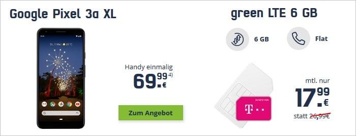 Google Pixel 3a XL mit md green LTE 6 GB im Telekom-Netz bei mobilcom-debitel