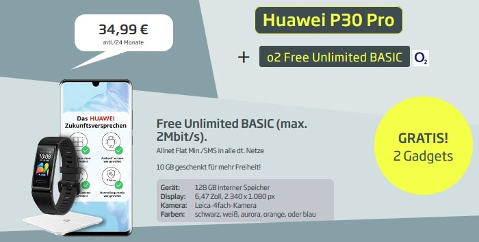 Huawei P30 Pro + Band 4 Pro und Wagge + o2 Free Unlimited Basic bei curved