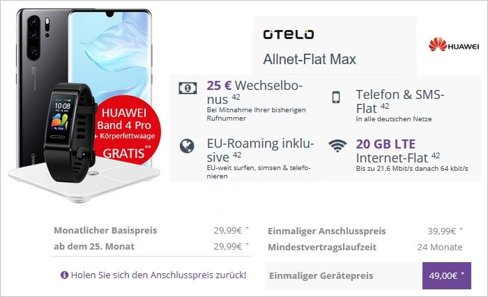 Huawei P30 Pro mit Otelo Allnet-Flat Max + Fitness bei DeinHandy