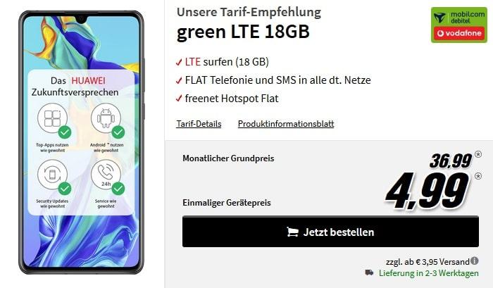 Huawei P30 mit green LTE 18 GB Vodafone bei MediaMarkt