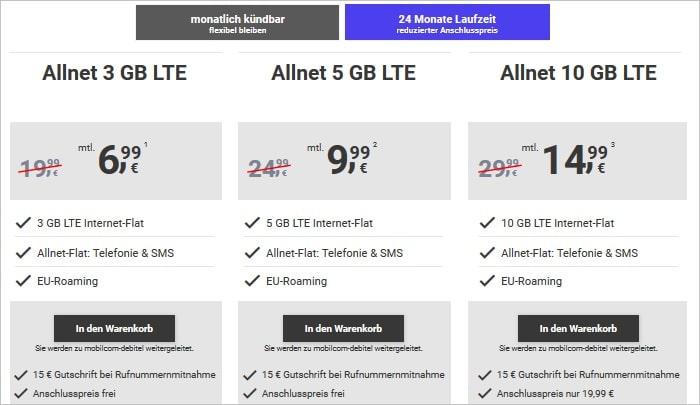 MegaSim Allnet Flats mit LTE