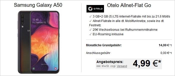 Samsung Galaxy A50 mit otelo Allnet-Flat Go bei LogiTel