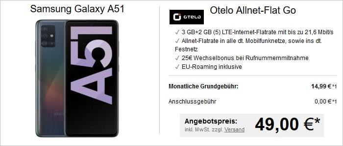 Samsung Galaxy A51 mit Otelo Allnet Flat Go bei LogiTel