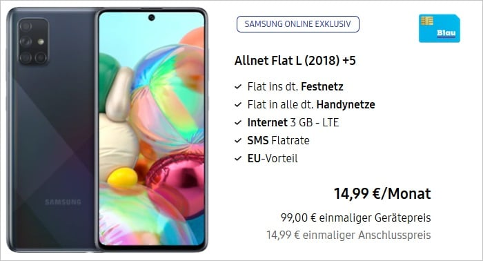 Samsung Galaxy A71 +Blau Allnet L mit 3 GB LTE bei Samsung