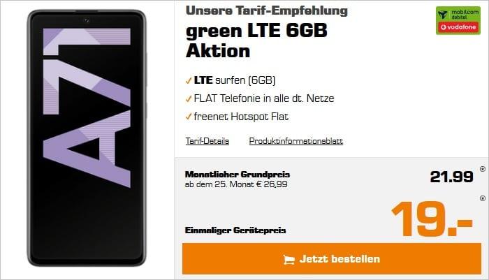 Samsung Galaxy A71 + mobilcom-debitel green LTE 6 GB (Vodafone-Netz) bei Saturn
