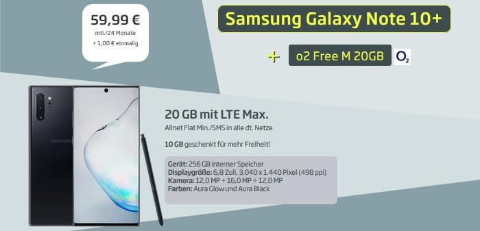 Samsung Galaxy Note 10 Plus + o2 Free M 2020 bei curved