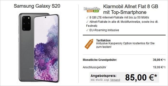 Samsung Galaxy S20 mit klarmobil Allnet Flat 8 GB Vodafone bei LogiTel 85