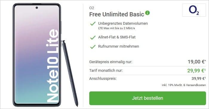 Samsung Galaxy Note10 lite mit o2 Free Unlimited Basic bei DeinHandy