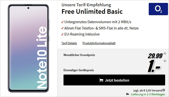Samsung Galaxy Note 10 Lite mit o2 Free Unlimited Basic bei MediaMarkt