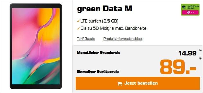 Samsung Galaxy Tab A 10.1 LTE (2019) mit md green Data M im Telekom-Netz bei Saturn