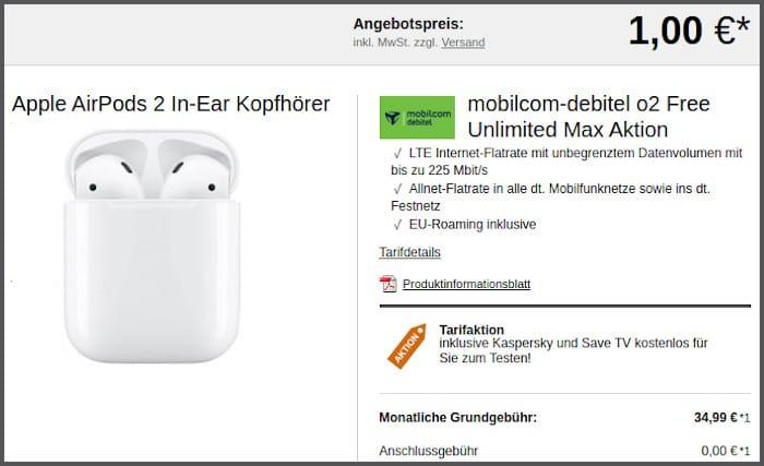 mobilcom-debitel o2 Free Unlimited Max mit Apple AirPods 2 bei LogiTel