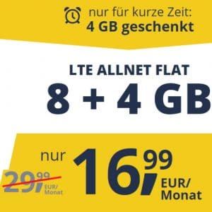 Freenet Mobile Sonderangebot 8 GB LTE