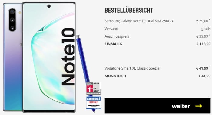 Samsung Galaxy Note 10 mit Vertrag Vodafone Smart XL