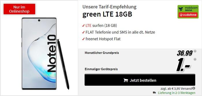 Samsung Galaxy Note 10 + mobilcom-debitel green LTE (Vodafone-Netz) bei MediaMarkt