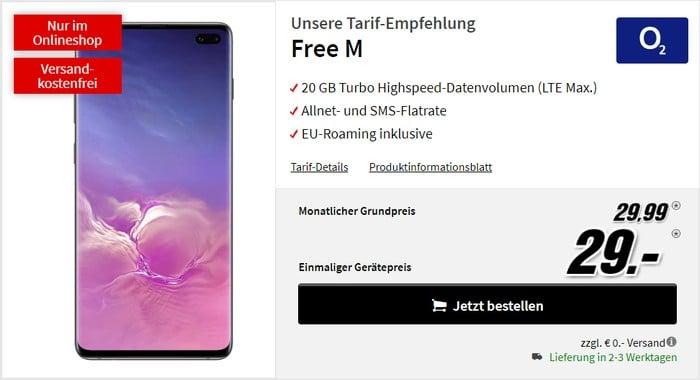 Samsung Galaxy S10 Plus + o2 Free M bei MediaMarkt