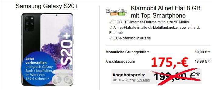 Samsung Galaxy S20 Plus + Samsung Galaxy Buds Plus + klarmobil Allnet Flat (Vodafone-netz) bei LogiTel