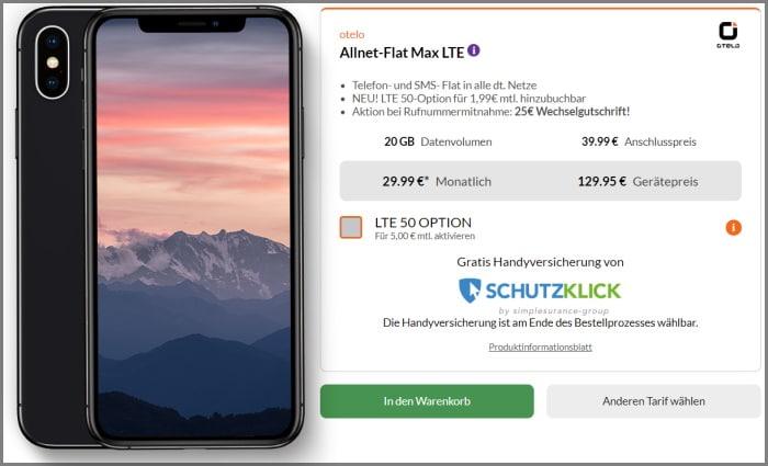 iPhone Xs mit Vertrag otelo Allnet Max