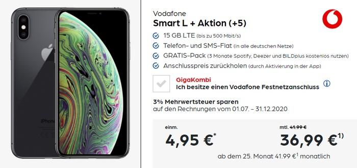 iPhone Xs + Vodafone Smart L Plus bei Preisboerse24