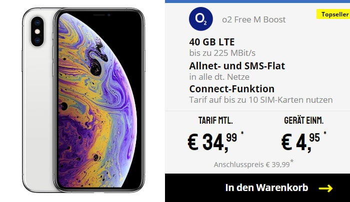 iPhone Xs + o2 Free M Boost bei Sparhandy