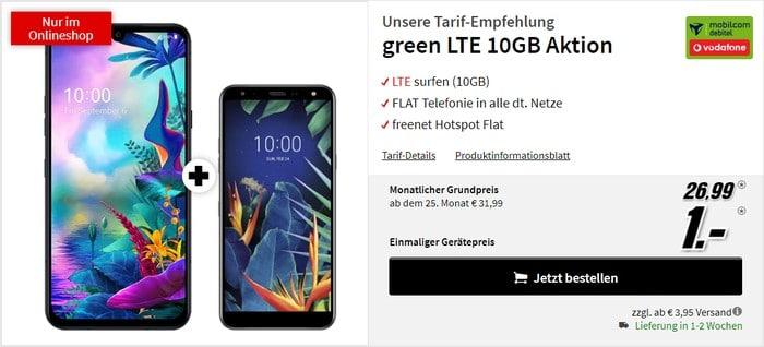 LG G8X ThinQ + LG K40 + mobilcom-debitel green LTE (Vodafone-Netz) bei MediaMarkt