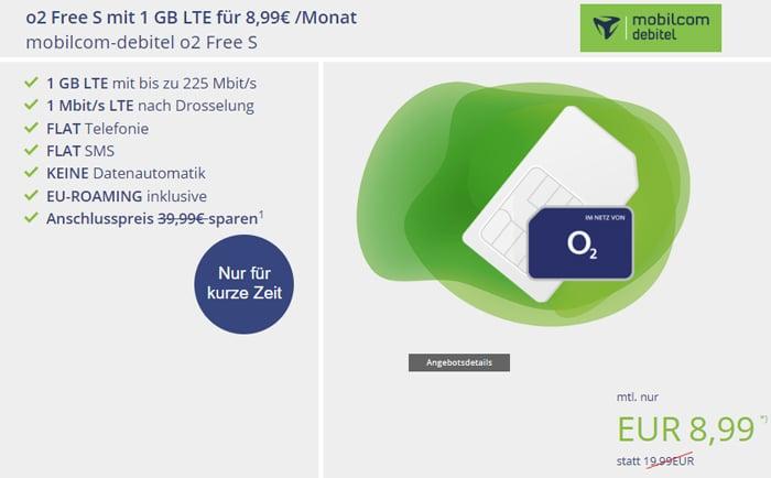 mobilcom-debitel Free S, Telefonica-Netz mit 1 MBit/s