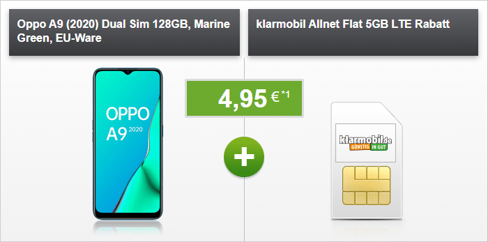 Oppo A9 (2020) + klarmobil Allnet Flat 5 GB LTE (Vodafone-Netz) bei modeo