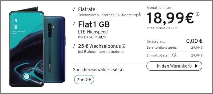 Oppo Reno 2 + yourfone LTE 1 GB bei yourfone