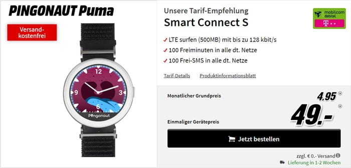 Pingonaut Puma + mobilcom-debitel Smart Connect S (Telekom-Netz) bei MediaMarkt