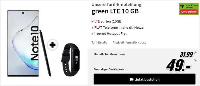 Samsung Galaxy Note 10 mit Tarif md green LTE im Vodafone-Netz