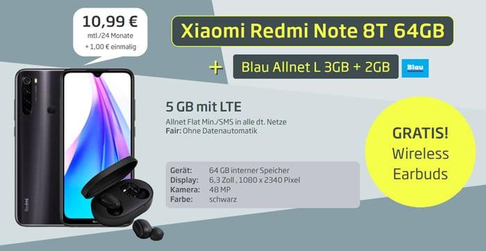 Xiaomi Redmi Note 8T + Xiaomi Wireless EarBuds Basic + Blau Allnet L bei Curved