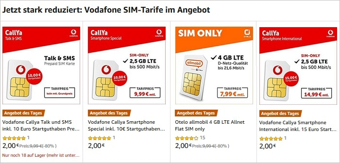 Amazon Day of the Dealy SIM only Tarife nur zwei Euro