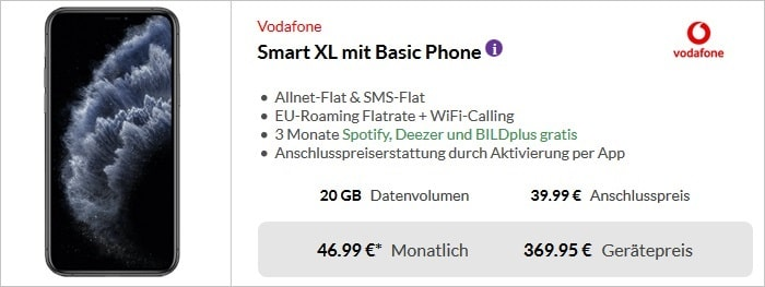 Apple iPhone 11 Pro Max + Vodafone Smart XL bei Preisboerse24