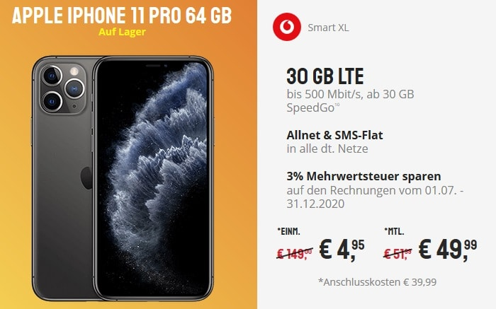Apple iPhone 11 Pro mit Vodafone Smart XL bei Sparhandy