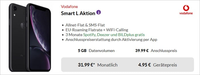 Apple iPhone Xr mit Vodafone Smart L bei Preisboerse24