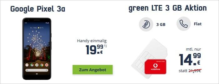 Google Pixel 3a mit mobilcom-debitel green LTE 3 GB im Vodafone-Netz bei mobilcom-debitel