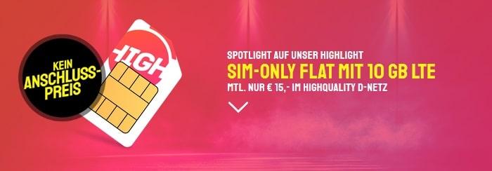 HIGH Allnet Flat mit 10 GB LTE im Telekom-Netz Aktion bei Sparhandy