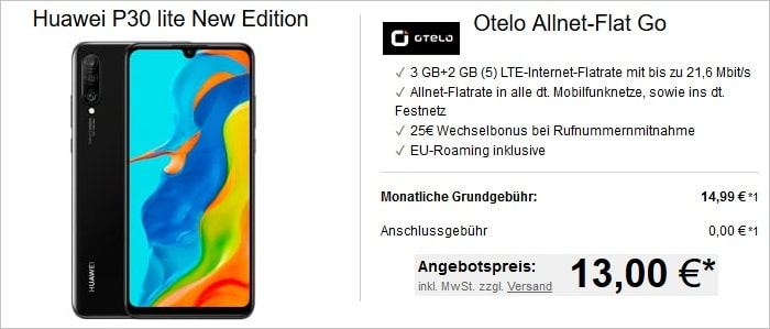 Huawei P30 Lite New Edition zur Otelo Allnet Flat Go bei LogiTel