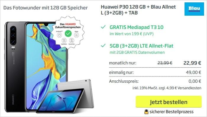 Huawei P30 mit Huawei Mediapad T3 10 zum Blau Allnet L bei curved