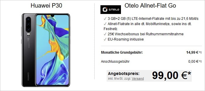 Huawei P30 mit otelo Allnet-Flat Go bei LogiTel