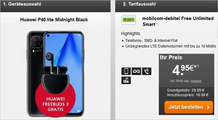Huawei P40 Lite mit mobilcom-debitel Free Unlimited Smart bei handyflash