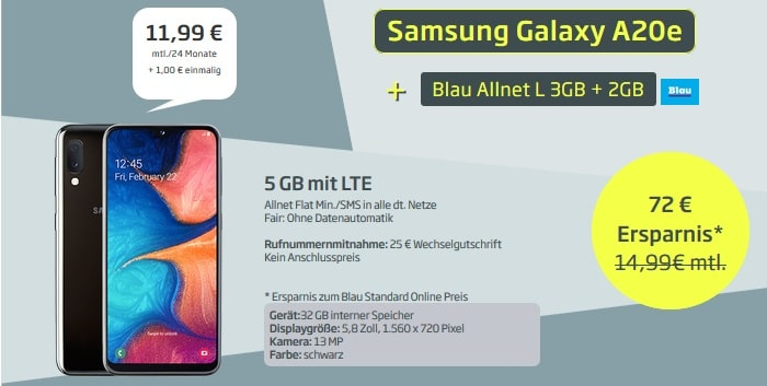 Samsung Galaxy A20e + Blau Allnet L (3+2GB) bei curved