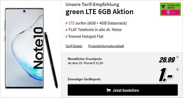 Samsung Galaxy Note10 mit green LTE 6+4 GB im Telekom-Netz bei MediaMarkt