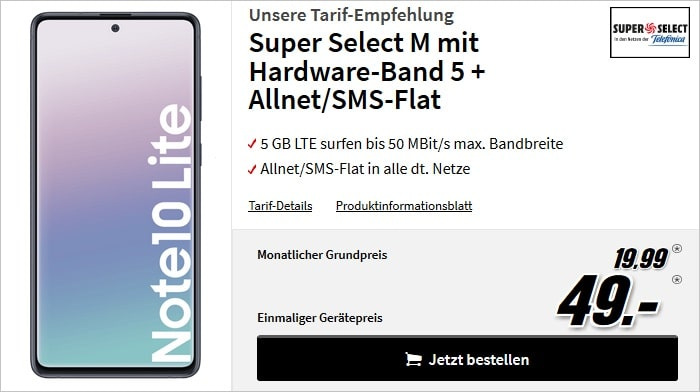 Samsung Galaxy Note 10 Lite mit Super Select M bei MediaMarkt