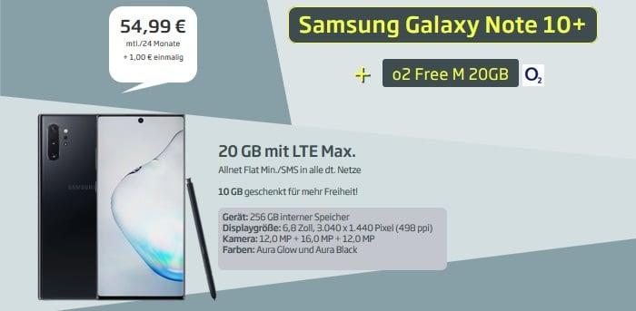 Samsung Galaxy Note 10 Plus mit o2 Free M 20 GB bei curved