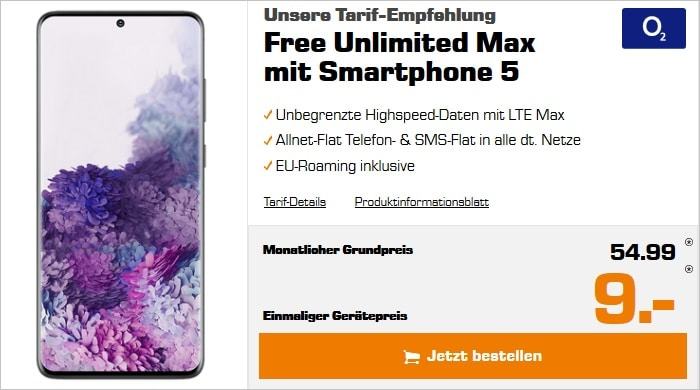 Sasmung Galaxy S20 Plus zum o2 Free Unlimited Max bei Saturn