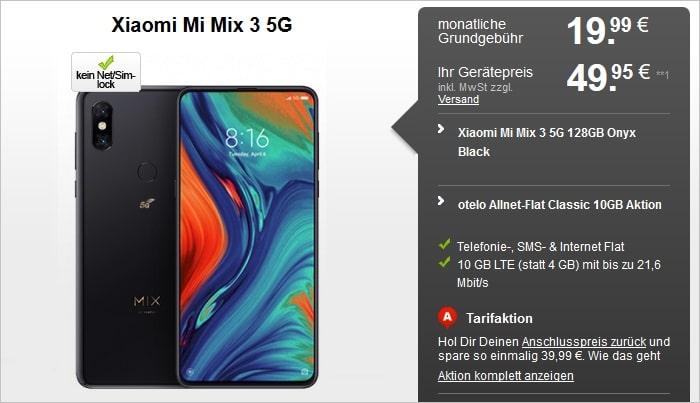 Xiaomi Mi Mix 3 5G mit otelo Allnet-Flat Classic 10 GB LTE bei handyflash