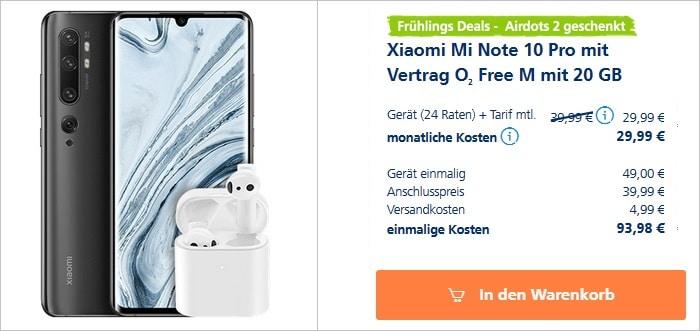 Xiaomi Mi Note 10 Pro + Xiaomi AirDots 2 + o2 Free M bei o2 Online