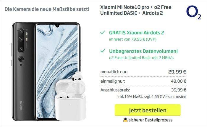 Xiaomi Note 10 Pro mit Xiaomi AirDots 2 zum o2 Free Unlimited Basic bei curved