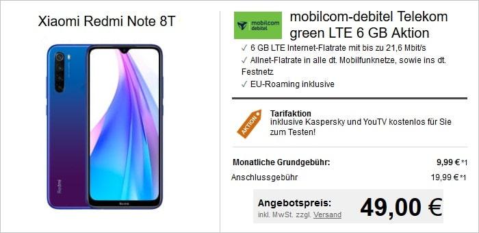 Xiaomi Redmi Note 8T zum green LTE 6 GB im Telekom-Netz bei LogiTel