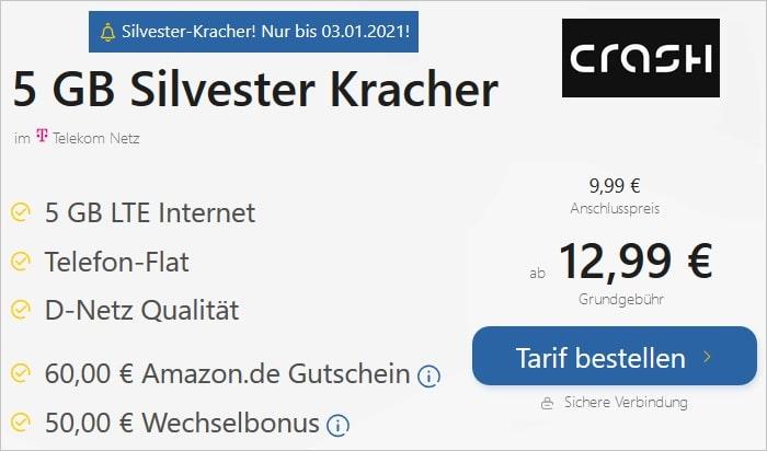 crash Allnet Flat 5 GB Silvester Kracher bei TARIFFUXX